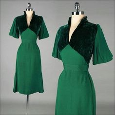 40s emerald and bottle green dress