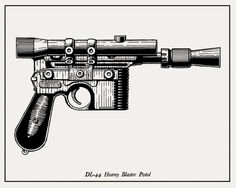 Sketch of Han Solo's Blaster. Less gritty detail than photo image, but probably easier to work with in photoshop.