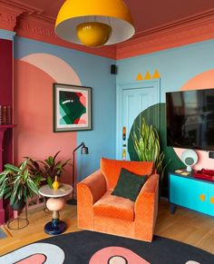 Room Inspiration, Interior Inspiration, Living Room Decor, Bedroom Decor, Retro Living Rooms, Master Bedroom, Style Deco, New Room, Colorful Interiors