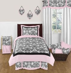 JOJO PINK BLACK DAMASK TWIN SIZE BED BEDDING COMFORTER SET FOR KIDS GIRL BEDROOM #SweetJojoDesigns