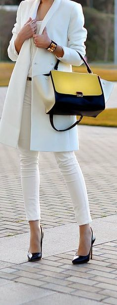 #celine White always looks clean and modern, but sophisticated enough for business. I love this look.