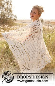 Free pattern  Ravelry: 146-35 Blanket with squares and fan pattern in Big Merino pattern by DROPS design