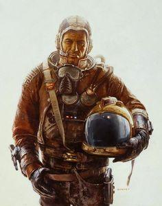 'Astronaut Miner' (Hard working man on Neptune). by james gurney
