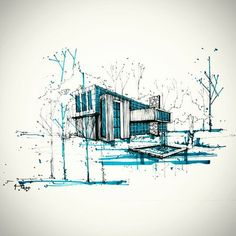 This minimalist drawing incorporates much emotion and feeling with only a simple… - Architecture Sketchbook Architecture, Architecture Concept Drawings, Landscape Architecture, Interior Architecture, Sketches Arquitectura, Perspective Sketch, Building Sketch, Minimalist Drawing, Landscape Drawings
