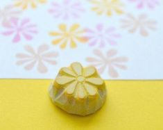 mini flower hand carved rubber stamp handmade rubber by StudioMo Potato Stamp, Gift Wrap Box, Flower Stamp, Stamping Up, Hand Carved, Arts And Crafts, Carving, Gift Wrapping, Make It Yourself