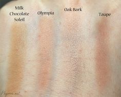 Best contouring products for pale skin- Too Faced Milk Chocolate Soliel, NARS Olympia, Pumpkin n Poppy Oak Bark, Nyx Taupe, swatch