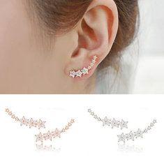 Lindo margarita flor de cristal de plata 925 aretes de la oreja de la aguja para las mujeres - Banggood Móvil