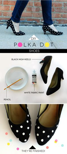 DIY: POLKA-DOT SHOES - can also be done with regular black shoes