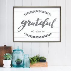 """""""Grateful"""" personalized print in a matted frame."""