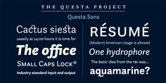 Questa Complete, font by The Questa Project. Questa Complete can be purchased as a desktop and a web font.