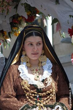 Portrait of woman wearing one of the traditional costumes from Sardinia