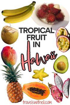 Hawaii Vacation Tips, Hawaii Travel, How To Grow Bananas, Hawaiian Names, Mango Tree, Visit Hawaii, Fruit Stands, Variety Of Fruits, Tropical Fruits