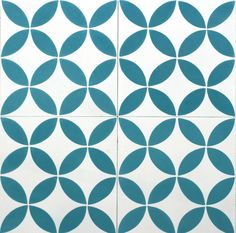 Circles Teal Encaustic Cement Tile Bespoke Tile and Stone