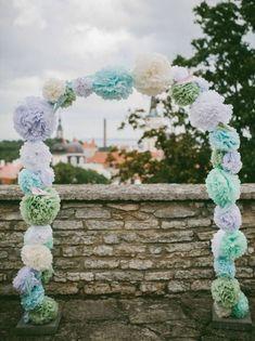 Pastel Blue and Green tassel fringe garland wedding photo backdrop first boy birthday party bridal baby shower bar mitzvah sage baby blue