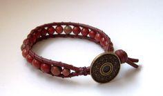 Bracelet wrap - - Bracelet homme - Bracelet wrap en cuir - Cadeau pour lui - bracelet perles en Jasper et Unakite - Bracelet wrap homme de la boutique Perlesforever sur Etsy