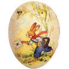"""Large 6"""" German Paper Mache Easter Egg  Bunny Delivering Easter Card"""