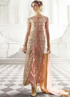 ef763e91fe Peach Embroidery Work Net Japan Crepe Santoon Wedding Designer Patiala Suit.  Wedding Salwar Suit India.