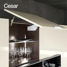 Store your kitchen utensils in ELLE, one of the most feminine Cesar kitchen designs.