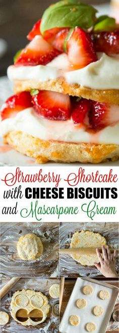 Strawberry Shortcake with Colby cheese biscuits, mascarpone cream, and basil in the berries! This updated classic is perfect for summer. via @culinaryhill
