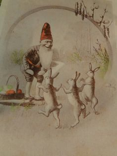 vintage Post Card Easter gnome hobbit elf dancing by whimzeesnest, $8.00