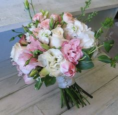 Pink white lisianthus rose romantic bouquet