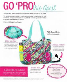 April Alert!! I can hardly stand the wait for this bag. The All-Pro Tote is the PERFECT gym bag, diaper bag, etc., complete with jewelry strap and the perfect open side pocket that fits a yoga mat or towel. Www.mythirtyone.com/kjtopp