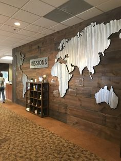 what if we added map like this to wall leading to bathroom upstairs? had words serve? Church Lobby, Church Foyer, Church Office, Church Interior Design, Church Stage Design, Church Welcome Center, Church Ministry, Church Nursery, Lobby Design