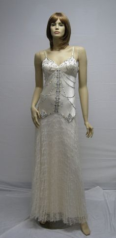 Sue Wong Designer Long Dress 6 Cream Off White Ivory Beige Beaded Lace Pleaded #SueWong