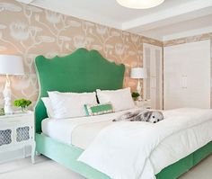 Oh. Dear.  This is in every way perfect.  Goodness.  That wallpaper is to die for and THE GREEN BED is AMAZING.