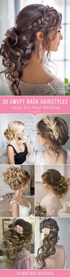 30 Trendy Swept-Back Wedding Hairstyles ❤ If you are not sure which hairstyle to choose, see our collection of swept-back wedding hairstyles and you will find gorgeous and fancy looks! See more: http://www.weddingforward.com/swept-back-wedding-hairstyles/ #wedding #hairstyles