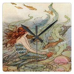 Vintage Beautiful Girly Mermaid Under The Sea Square Wall Clock
