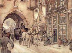 Street scene by Anton Pieck, 1895-1987, Dutch artist and graphic designer.