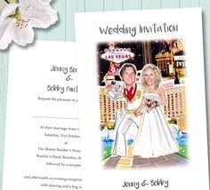 funny wedding invitations - getting married in Las Vegas then why not have a cartoon picture of you in your wedding attire for your stationery