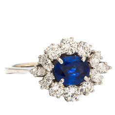 Pre-owned 1960s Sapphire Diamond White Gold Cocktail Ring ($4,450) ❤ liked on Polyvore featuring jewelry, rings, cocktail rings, statement rings, round sapphire ring, oval ring, round diamond ring and 18k ring