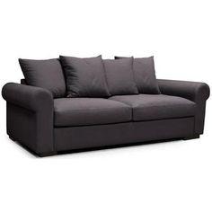 ALEX Canapé droit convertible 3 places avec matelas Bultex - Tissu bleu - Contemporain - L 185 x P 90 cm - Achat / Vente canapé - sofa - divan Structure : panneaux de particules et bois massif-Revêtement Tissu - Cdiscount Sofa, Couch, Furniture, Home Decor, Blue Fabric, Fold Out Couch, Contemporary Design, Mattress, Home
