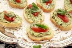 I made these today!     Mix Cream Cheese, (double Whipped) with pesto (made by my BF) top on French Baguette, with tomato and basil! soooo goood! Easy Tea sandwiches!