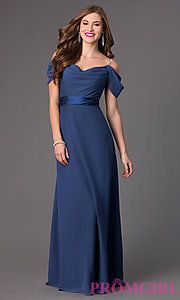 Buy Floor Length Formal Dress with Cold Shoulders at PromGirl