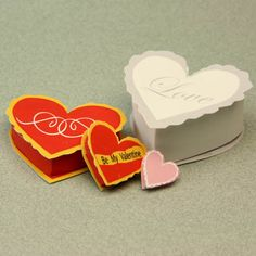 Printable miniature heart shaped boxes in a variety of dollhouse scales.