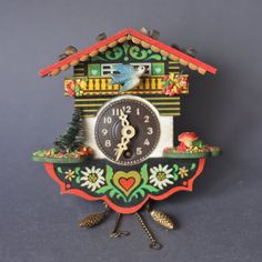 Vintage German Cuckoo Clock With Tiny Toadstool by GoGoBerlinette