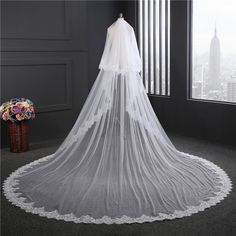 >> Click to Buy << Real Picture ultra-wide 3M long Bridal Veils 2017 new Lace veu de noiva longo White /Ivory Cheap In Stock Wedding veil #Affiliate