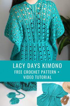 Crochet Lacy Days Kimono – MJ's off the Hook Designs Crochet Lacy Days Kimono Crochet Cardigan, Crochet Shawl, Crochet Stitches, Knit Crochet, Crochet Summer, Crochet Leaves, Crochet Tops, Drops Alpaca, Knitting Patterns