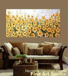 XL Oil Yellow floral paintingSummer Sunshine Abstract by artmod