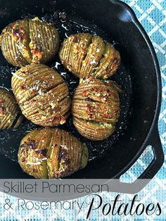 Skillet Parmesan & Rosemary potatoes. - A Life From Scratch. Melted butter – garlic – parmesan – rosemary – sea salt – skillet – soft – crunchy – browned.  These stunning potatoes have a slight nod to Pioneer Woman's crack potatoes but in my opinion, exceed them. Because you know, butter and all that.