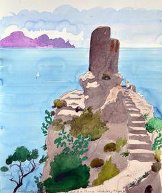 1988 Torre with Mirador de las Animas, Bañalbufar, Majorca , watercolour by Paul Hogarth
