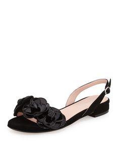 Ida Suede Flower Slingback Sandal