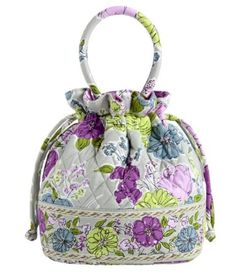 """$35.00 Vera Bradley Emma (Watercolor) - A darling new style from Vera Bradley called Emma.  Cute bucket shape quilted bag with a drawstring top and wider base that makes for quite a roomy little tote for its small size.  Two outside zip pockets with Vera Bradley signature ribbon pulls.  Interior features a different fun Vera Bradley fabric and a slip cell phone pocket. Structured handles are 14"""" w ..."""