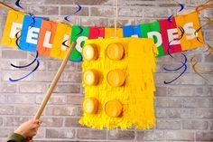 Lego Themed Party, Lego Birthday Party, Boy Birthday, Birthday Parties, Lego Pinata, Lego Party Decorations, Lego Friends Party, Art Hama, Yellow Birthday