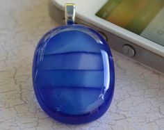 Blue Pendant  - Blue Jewelry - FUSED GLASS JEWELRY - Glass jewelry - Glass pendant