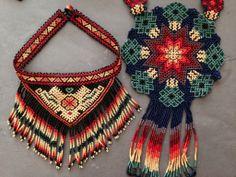 Huichol Necklaces- Statement Jewelry, Boho Jewelry, Jewelry Crafts, Beaded Jewelry, Beaded Necklace, Necklaces, Beadwork Designs, Mexican Designs, Beading Patterns Free