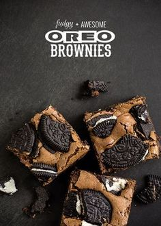 These Oreo recipes will have you craving Oreos like never before. Check out the Oreo recipes here. Oreo Brownies, Brownie Oreo, Chocolate Brownies, Oreos, Decadent Brownie Recipe, Just Desserts, Dessert Recipes, Pumpkin Pie Bars, Sweet Recipes